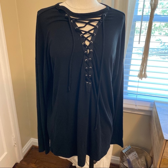Express Tops - Express One Eleven long sleeve lace up black shirt